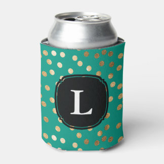 Monogrammed Teal Green and Gold Glitter Polka Dot Can Cooler