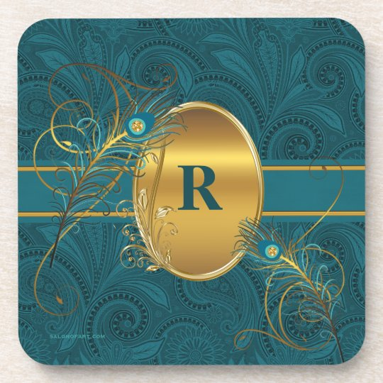 Monogrammed Teal Peacock and Gold Drink Coaster