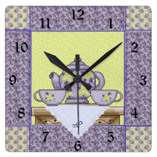 Monogrammed Teapot Quilt Patch Wall Clock
