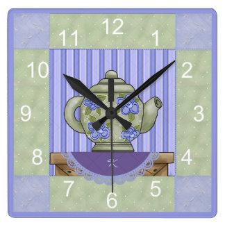 Monogrammed Teapot Quilt Square Clock