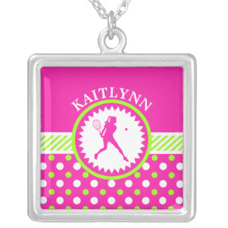 Monogrammed Tennis Pink - Green Polka-Dots Silver Plated Necklace