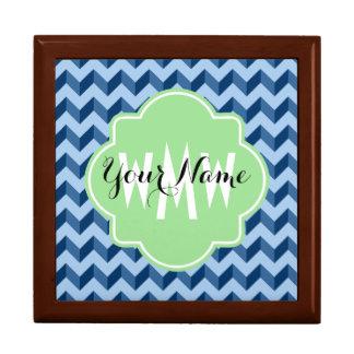 Monogrammed Tiffany and Navy Blue Modern Chevron Gift Box