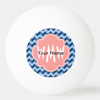 Monogrammed Tiffany and Navy Blue Modern Chevron Ping Pong Ball