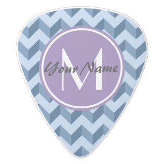 Monogrammed Tiffany and Navy Blue Modern Chevron White Delrin Guitar Pick