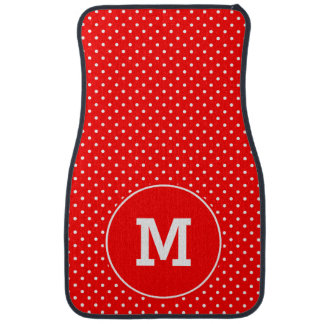 Monogrammed Tiny Red and White Polka Dots Car Mat