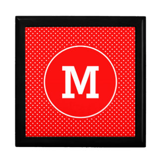 Monogrammed Tiny Red and White Polka Dots Gift Box