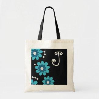Monogrammed tote bags::Blue Flowers Budget Tote Bag