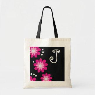 Monogrammed tote bags::Pink Flowers