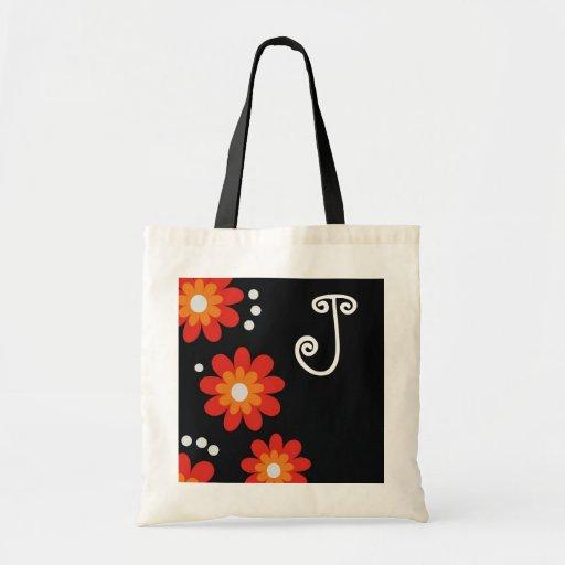 Monogrammed tote bags::Red Flowers