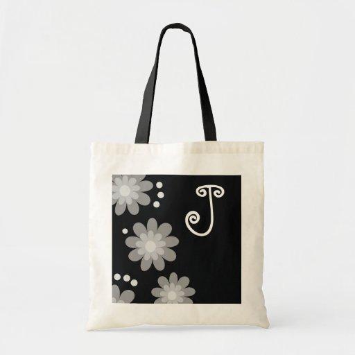 Monogrammed tote bags::Silver Grey Flowers
