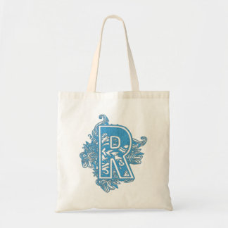 MONOGRAMMED TOTE - BLUE LETTER R CANVAS BAGS