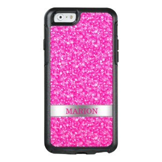Monogrammed Trendy Hot Pink And White Glitter OtterBox iPhone 6/6s Case