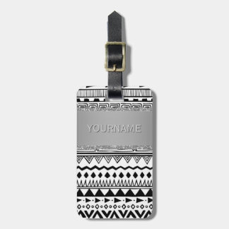 Monogrammed Tribal Pattern Boho Black and White Luggage Tag