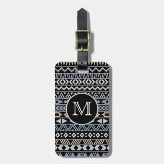 Monogrammed Tribal Pattern Drk Luggage Tag