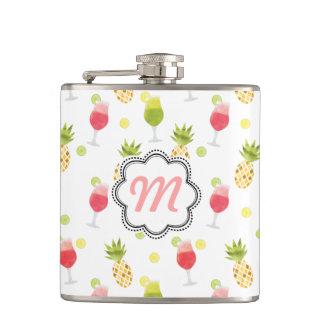 Monogrammed Tropical Cocktail & Fruit Pattern Flasks