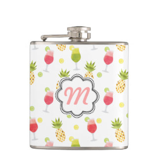 Monogrammed Tropical Cocktail & Fruit Pattern Hip Flask