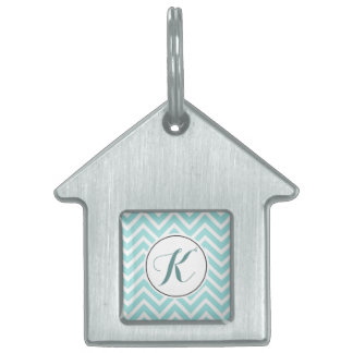 Monogrammed Turquoise and White Chevron Pet Name Tag