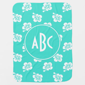 Monogrammed Turquoise and White Hawaiian Pattern Baby Blanket
