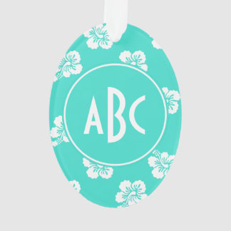 Monogrammed Turquoise and White Hawaiian Pattern Ornament