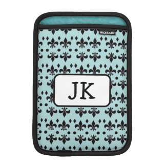 Monogrammed Turquoise & Black Anchors  iPad Case