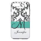 Monogrammed Turquoise Black White Swirls Damask iPhone 8 Plus/7 Plus Case