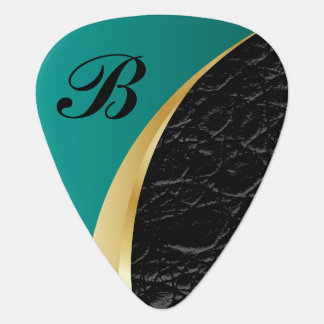 Monogrammed Turquoise Gold and Black Leather Guitar Pick