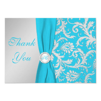 Monogrammed Turquoise, Silver Thank You Card 13 Cm X 18 Cm Invitation Card