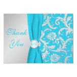 Monogrammed Turquoise, Silver Thank You Card Custom Announcement