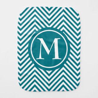 Monogrammed Turquoise & White Zigzag - Burp Cloth