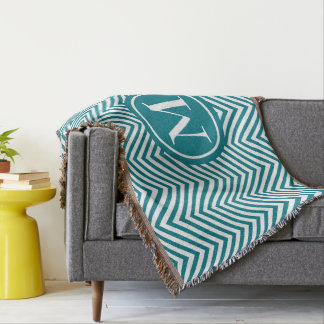 Monogrammed Turquoise & White Zigzag-Throw Blanket