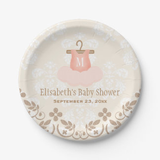 Monogrammed Tutu Ballet Themed Baby Shower 7 Inch Paper Plate