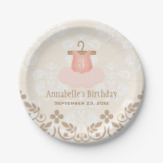 Monogrammed Tutu Ballet Themed Birthday 7 Inch Paper Plate