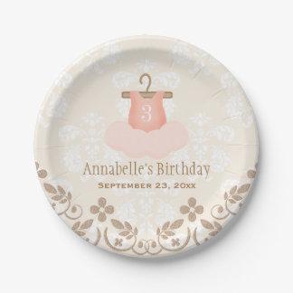 Monogrammed Tutu Ballet Themed Birthday Paper Plate