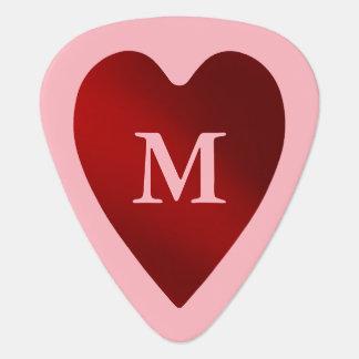 Monogrammed Valentine heart Plectrum