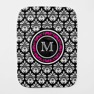 Monogrammed vintage damask burp cloth
