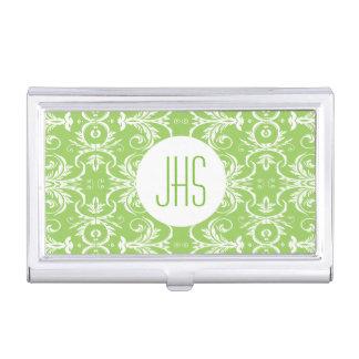 Monogrammed vintage floral green PERSONALIZE Business Card Holder