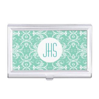 Monogrammed vintage floral green PERSONALIZE Case For Business Cards