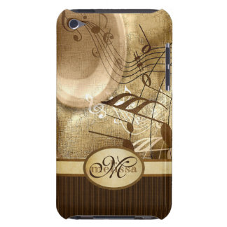 Monogrammed Vintage Gold Gramophone Musical Notes Barely There iPod Case