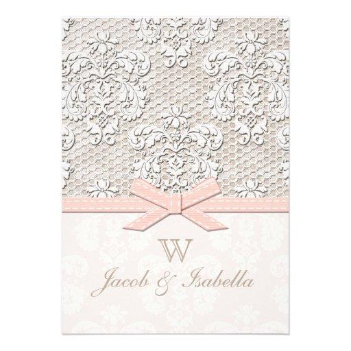 Monogrammed Vintage Lace Wedding Invitations Pink