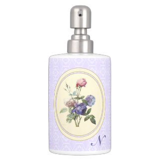 Monogrammed Vintage Pink Roses and Purple Flowers Bathroom Set