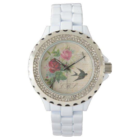 Monogrammed Vintage Roses Swallow Bird Dragonfly Wrist Watch