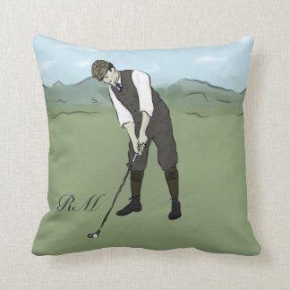 Monogrammed Vintage Style golf art Cushion