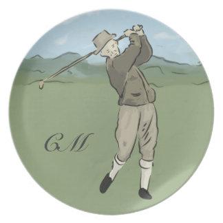 Monogrammed Vintage Style golf art Plate