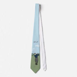 Monogrammed Vintage Style golf art Tie