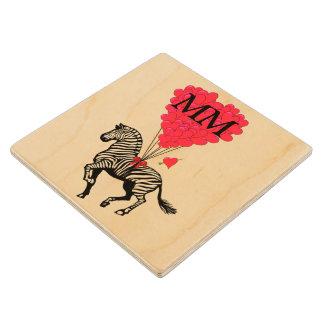 Monogrammed vintage Zebra and love heart Maple Wood Coaster