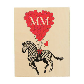 Monogrammed vintage Zebra and love heart Wood Print