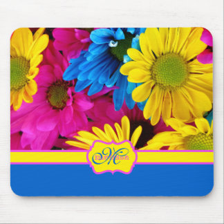 Monogrammed Vivid Cheery Daisies Pink Yellow Blue Mouse Mat