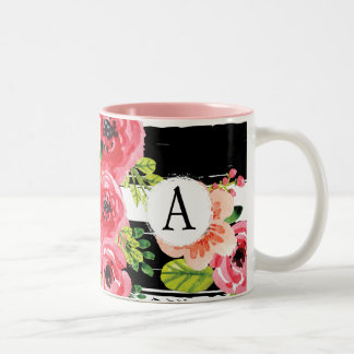 Monogrammed Watercolor Floral With Black Stripes Two-Tone Coffee Mug