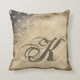Monogrammed We The People American Flag Pillow