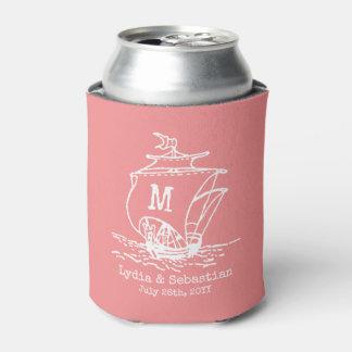 Monogrammed Wedding Couple Vintage Ship | Coral Can Cooler